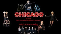 Promotional graphic for the musical &quot;Chicago&quot; US Tour with Christie Brinkley