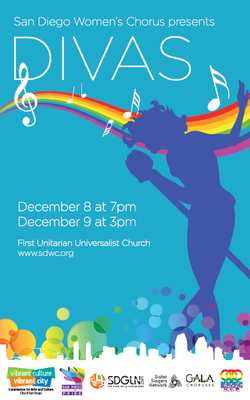 Promotional graphic for the San Diego Women's Chorus performance of DIVAS on December 8th & 9th, 2012. Courtesy to the San Diego Women's Chorus.