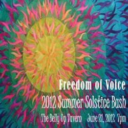 Promotional logo for Freedom of Voice at Belly Up Tavern.
