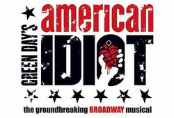 "Promotional graphic for Green Day's ""American Idiot,"" a Broadway musical being performed at the San Diego Civic Theatre"