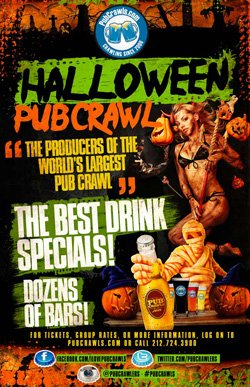 Promotional flyer for San Diego Halloween PubCrawl 2012 on October 26th, 27th & 31st.