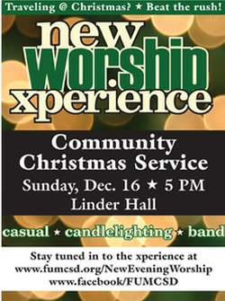 Promotional graphic for the Community Candlelight Xperience on December 16th, 2012.