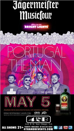 Promotional graphic for Portugal. The Man with The Lonely Forest. Presented by Bring On The Bright Lights