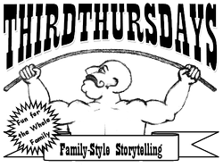 Promotional graphic for the Third Thursday Family-Style Storytelling Show. 