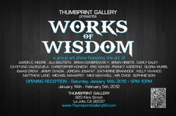 Promotional graphic for Thumbprint Gallery&#39;s &quot;Works of Wisdom.&quot;