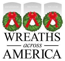 Graphic logo for Wreaths Across America. 