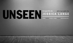 "Promotional graphic for the exhibition ""Unseen"" By Jessica Lange."