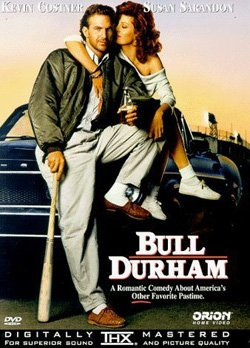 "Promotional movie poster for ""Bull Durham"" playing at Central Public Library."