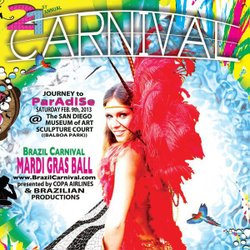 Promotional graphic for 21st Annual San Diego Brazil Carnival Mardi Gras on Saturday February 9th.