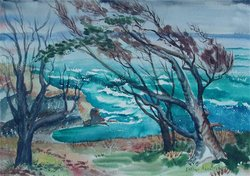 """Classic Coast II,"" watercolor by Esther Painter Hagstrom. Courtesy of Suzan E. Hagstrom"