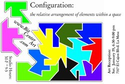 Graphic logo for &quot;Configuration&quot; at Biz Center Art January 19- April 1st, 2013.