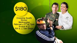 "Promotional graphic for the ""Crossing South"" Dinner with host Jorge Meraz, and chefs Miguel Angel Guerrero and Martin Gonzalez at Acqua Al 2 on Wed., Feb. 27, 2013 at 7 p.m."