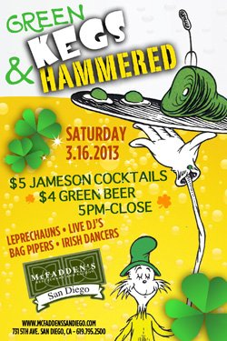Promotional image of Green Kegs & Hammered at McFadden's.