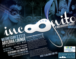 Promotional graphic for Incognito: A Masquerade Night at the San Diego Marriott Del Mar Arterra Lounge on February 27th, 2013.