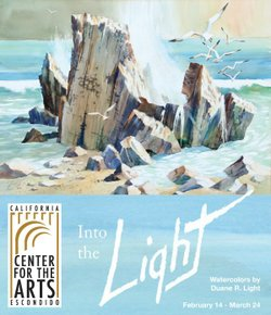 "Promotional graphic for the ""Into The Light: Watercolors"" Exhibit by Duane R. Light on display from February 15 through March 24, 2013. Opening reception is on February 14th from 6-8 p.m."