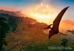 &quot;Great Balls of Fire&quot; - Dinosaur extinction event mural. Courtesy of Reuben H. Fleet Science Center.  