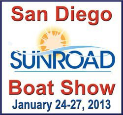 Graphic logo of the San Diego Sunroad Boat Show January 24-27.