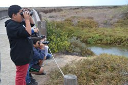 Promotional image of kids looking through binoculars at nature. Photo courtesy of San Diego National Wildlife Refuge.