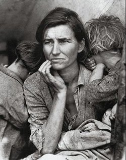 "Promotional image of a migrant mother from the book ""Grapes of Wrath"" written by John Steinbeck."