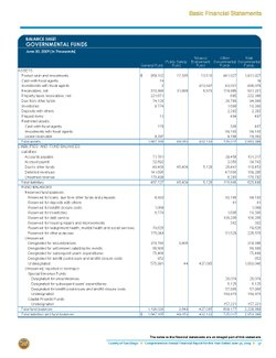 San Diego County Annual Report: Budget Balance Sheet