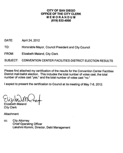 Convention Center Facilities Election Results