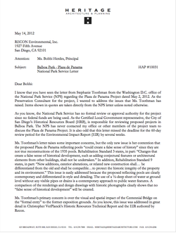 Response to National Park Service Letter