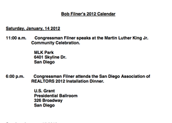 Bob Filner&#39;s Calendar