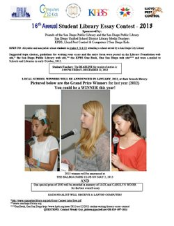 16th Annual Student Library Essay Contest Entry Form 2013