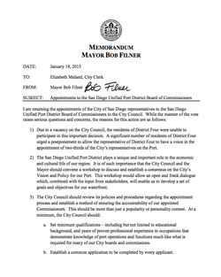 Memo Explaining Filner&#39;s Port Vetoes