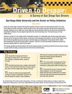 Driven to Despair: A Survey of San Diego Taxi Drivers