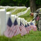 "For more than 40 years, the 3rd Infantry Regiment, also known as the Army's ""Old Guard,"" has placed American flags on each of the 260,000 gravestones at Arlington National Cemetery ahead of the Memorial Day weekend in a ceremony known as ""flags in."""