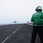 The Navy released video Tuesday of the San Diego-based USS Carl Vinson conducting airstrikes as part of the U.S. military campaign against ISIS, officially known as Operation Inherent Resolve. The Carl Vinson took over air operations from the USS George H.W. Bush last month.