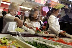 Children make salads from a salad bar.
