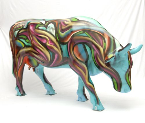 Stolen fiberglass cow painted by Werc Alvarez for CowParade La Jolla.