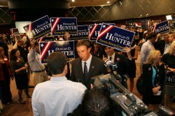 Duncan D. Hunter talks to a reporter on Election Night at Golden Hall in San Diego on November 4, 2008
