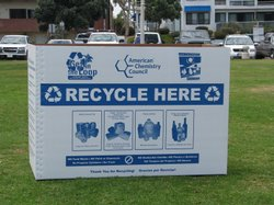 Large bins are set up at Mission Beach and Pacific Beach to encourage beachgoers to recycle.