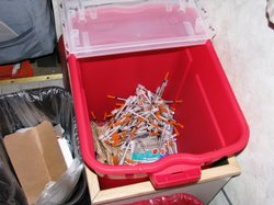 San Diegos clean syringe exchange collected 183,000 used needles in 2008.