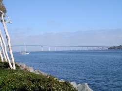 A view of the San Diego-Coronado Bridge which spans the San Diego Bay.