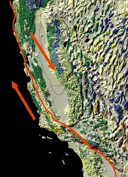 Map showing the San Andreas fault.