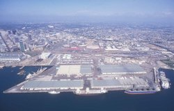 An aerial view of the 96-acre Tenth Avenue Marine Terminal.