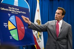 California Governor Arnold Schwarzenegger holds a press conference after the legislature successfully passed a solution to the state&#39;s budget problem July 24, 2009 in Sacramento.