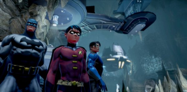 Screenshot of Batman and Robin in the game DC Universe Online.