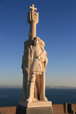 Juan Rodríguez Cabrillo was an explorer and conquistador. He first anchored his ship, the San Salvador, in San Diego bay near Point Loma. This statue honoring Cabrillo looks out over the bay.