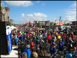 Eager cyclists wait at the starting line at the 28th Rosarito to Ensenada Fun Bike Ride in 2007.