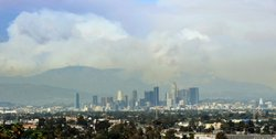 Smoke from the wildfires burning in the Angeles National Forest is seen from downtown Los Angeles on Aug. 31, 2009.