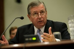 Former U.S. Attorney General John Ashcroft testifies during a hearing before the House Judiciary Committee on Capitol Hill July 17, 2008 in Washington, DC. 