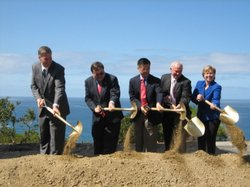 Groundbreaking Ceremony at UC San Diego for the new ocean science buildings. From left to right:  Patrick Gallagher, Deputy Director of the National Institute of Standards and Testing; Tony Haymet, Director of the Scripps Institute of Oceanography; Gary Locke, U.S. Secretary of Commerce; San Diego Mayor Jerry Sanders and Margaret Spring, Chief of Staff for the NOAA.