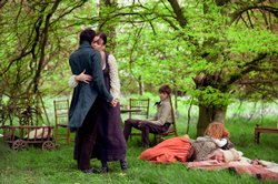 "Ben Whishaw playing John Keats in ""Bright Star"" hugs Fanny Brawne played by Abbie Cornish."