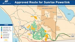 The proposed route for the Sunrise Powerlink.