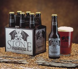 A six-pack of locally brewed Stone Levitation Ale.